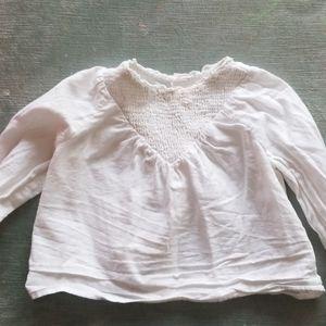 Zara white smock blouse